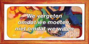 We vergeten omdat we moeten, niet omdat we willen
